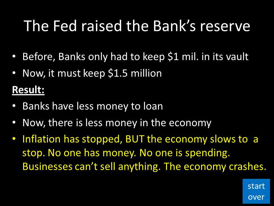 The Fed raised the Bank's reserve Before, Banks only had to keep $1 mil.