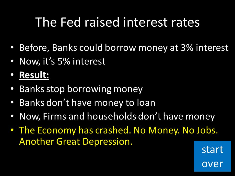 The Fed raised interest rates Before, Banks could borrow money at 3% interest Now, it's 5% interest Result: Banks stop borrowing money Banks don't hav