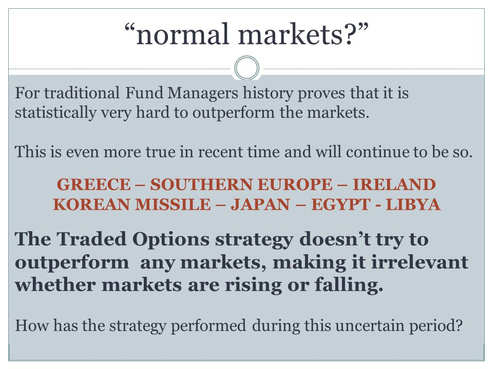 normal markets? For traditional Fund Managers history proves that it is statistically very hard to outperform the markets.