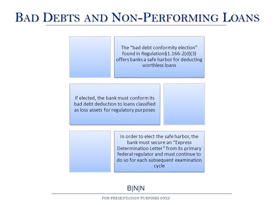 B|N|N FOR PRESENTATION PURPOSES ONLY B AD D EBTS AND N ON -P ERFORMING L OANS The bad debt conformity election found in Regulation§1.166-2(d)(3) offers banks a safe harbor for deducting worthless loans If elected, the bank must conform its bad debt deduction to loans classified as loss assets for regulatory purposes In order to elect the safe harbor, the bank must secure an Express Determination Letter from its primary federal regulator and must continue to do so for each subsequent examination cycle