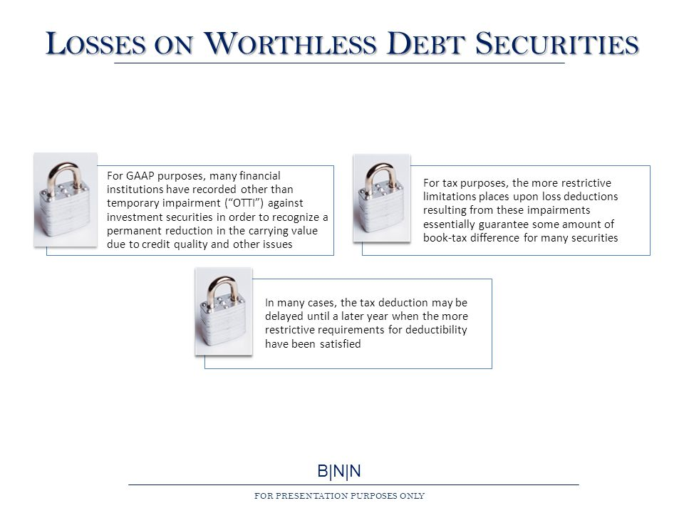 B|N|N FOR PRESENTATION PURPOSES ONLY L OSSES ON W ORTHLESS D EBT S ECURITIES For GAAP purposes, many financial institutions have recorded other than temporary impairment ( OTTI ) against investment securities in order to recognize a permanent reduction in the carrying value due to credit quality and other issues For tax purposes, the more restrictive limitations places upon loss deductions resulting from these impairments essentially guarantee some amount of book-tax difference for many securities In many cases, the tax deduction may be delayed until a later year when the more restrictive requirements for deductibility have been satisfied