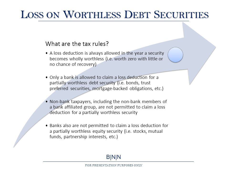 B|N|N FOR PRESENTATION PURPOSES ONLY L OSS ON W ORTHLESS D EBT S ECURITIES What are the tax rules.