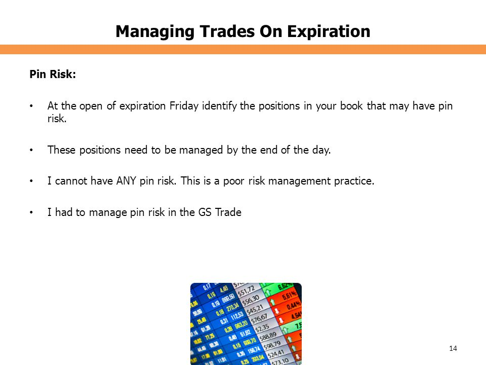 Managing Trades On Expiration Pin Risk: At the open of expiration Friday identify the positions in your book that may have pin risk.