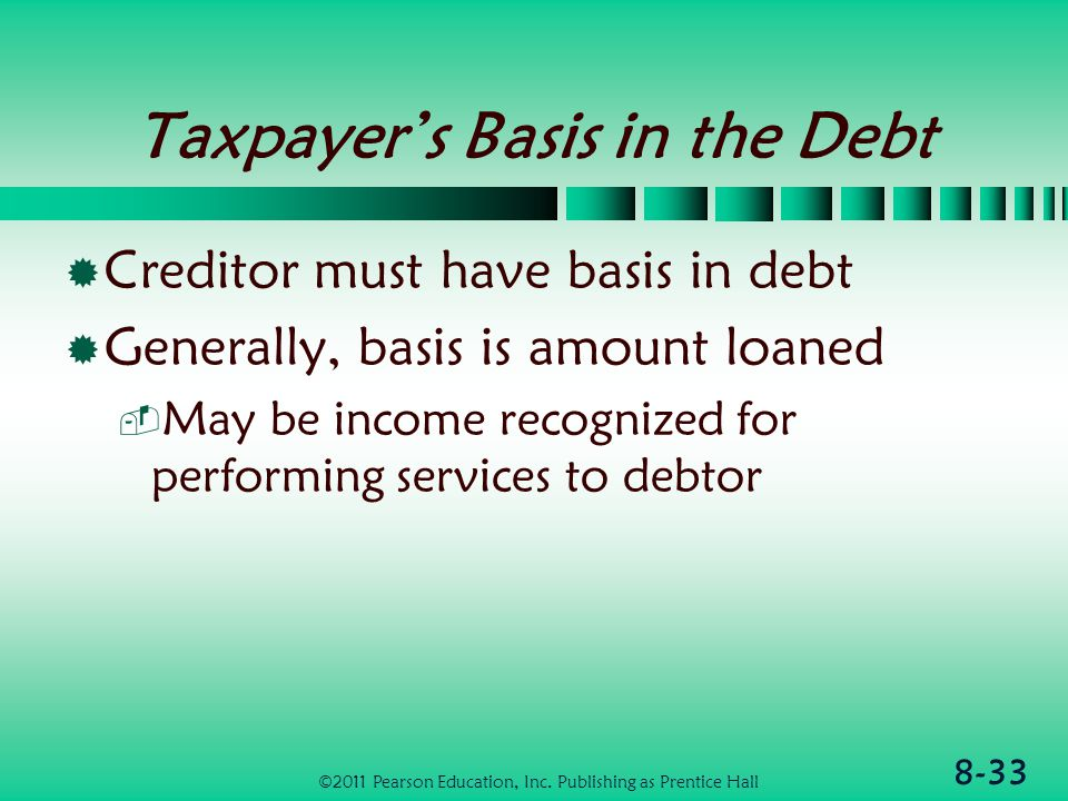 8-33 Taxpayer's Basis in the Debt  Creditor must have basis in debt  Generally, basis is amount loaned  May be income recognized for performing services to debtor ©2011 Pearson Education, Inc.