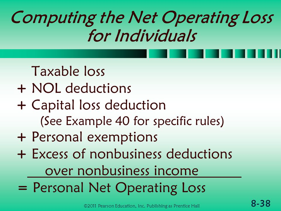 8-38 Computing the Net Operating Loss for Individuals Taxable loss + NOL deductions + Capital loss deduction (See Example 40 for specific rules) + Personal exemptions + Excess of nonbusiness deductions over nonbusiness income = Personal Net Operating Loss ©2011 Pearson Education, Inc.