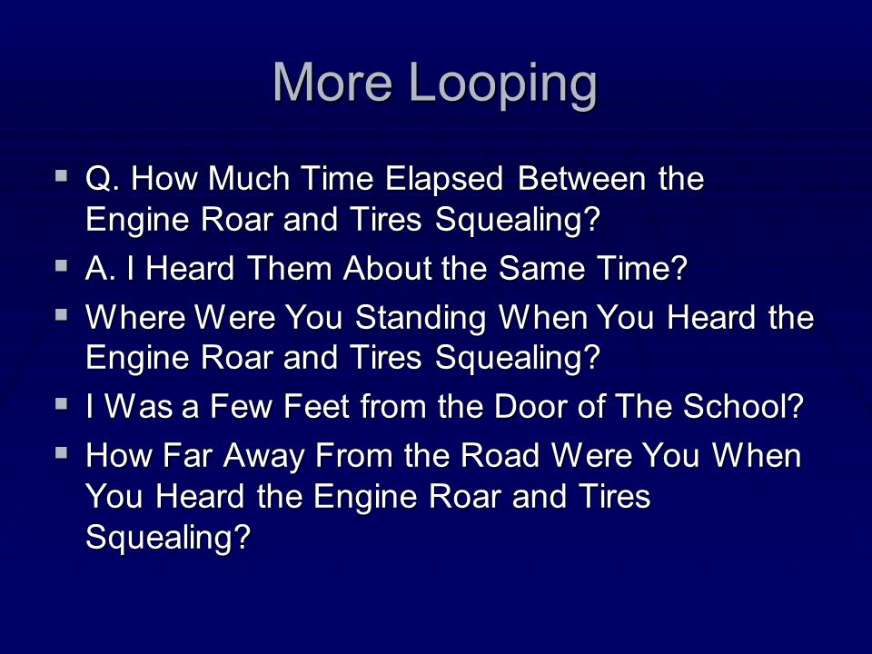 An Example of Looping  Q. Did You Hear Anything Unusual.
