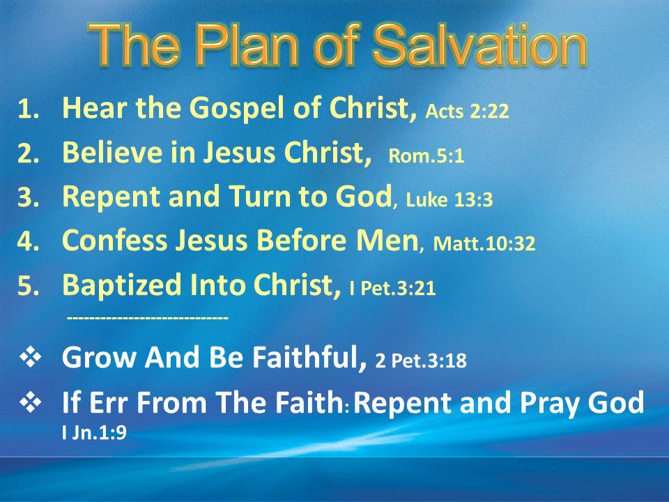 1. Hear the Gospel of Christ, Acts 2:22 2. Believe in Jesus Christ, Rom.5:1 3. Repent and Turn to God, Luke 13:3 4. Confess Jesus Before Men, Matt.10: