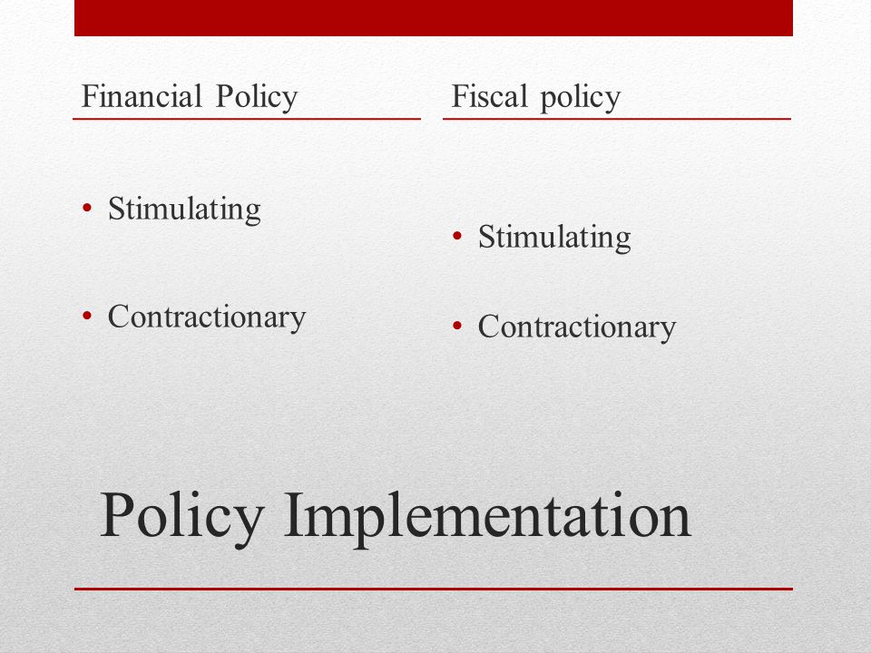 Policy Implementation Financial Policy Stimulating Contractionary Fiscal policy Stimulating Contractionary