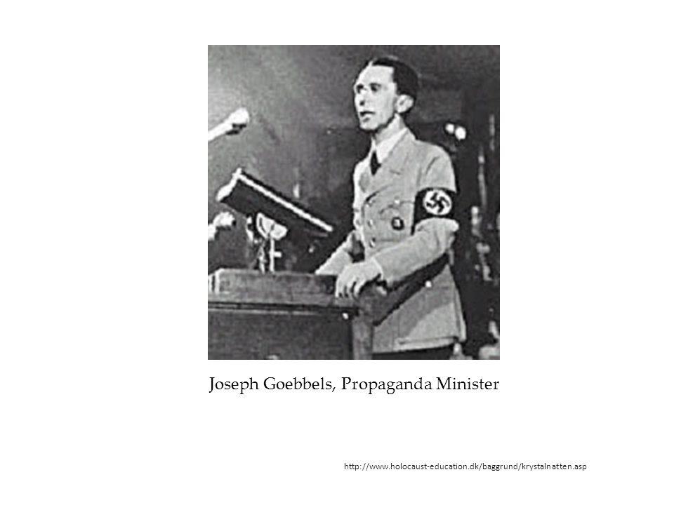 http://www.holocaust-education.dk/baggrund/krystalnatten.asp Joseph Goebbels, Propaganda Minister