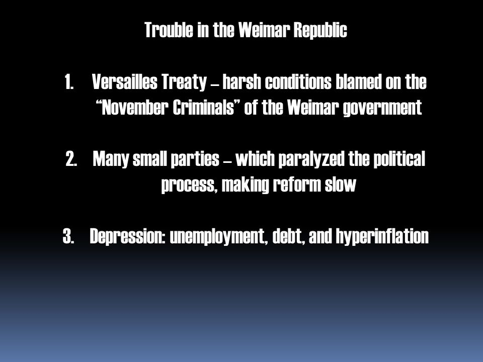"""Trouble in the Weimar Republic 1.Versailles Treaty – harsh conditions blamed on the """"November Criminals"""" of the Weimar government 2.Many small parties"""