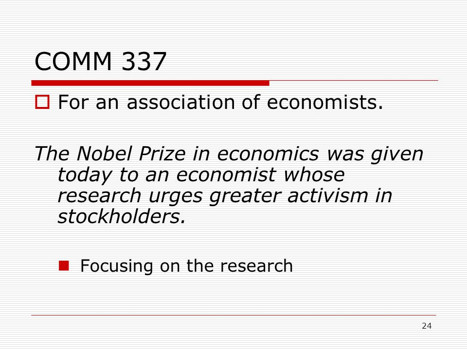 24 COMM 337  For an association of economists.