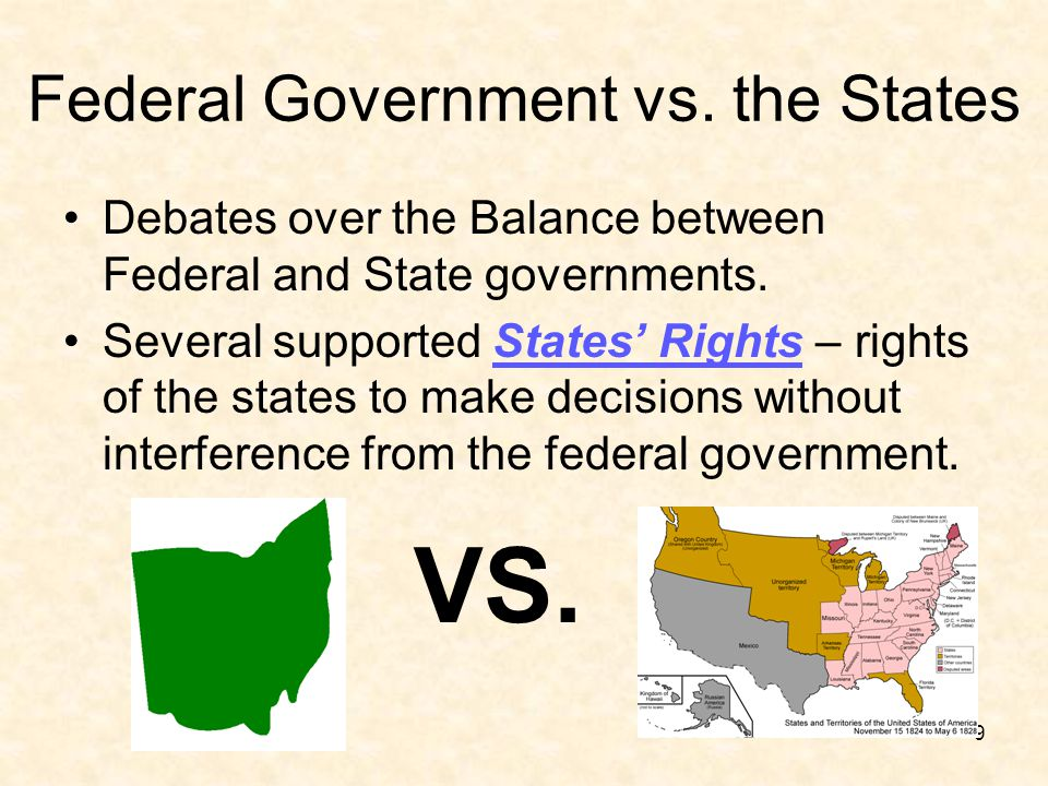 Federal Government vs. the States Debates over the Balance between Federal and State governments. Several supported States' Rights – rights of the sta