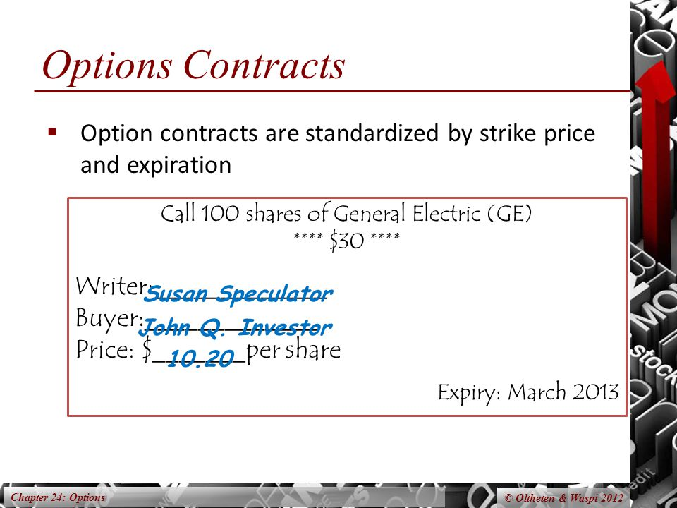 Chapter 24: Options © Oltheten & Waspi 2012 Call 100 shares of General Electric (GE) **** $30 **** Writer:_____________ Buyer:_____________ Price: $_______per share Expiry: March 2013 Options Contracts  Option contracts are standardized by strike price and expiration John Q.