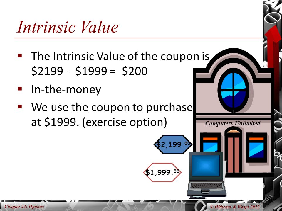 Chapter 24: Options © Oltheten & Waspi 2012 Intrinsic Value  The Intrinsic Value of the coupon is $2199 - $1999 = $200  In-the-money  We use the coupon to purchase at $1999.