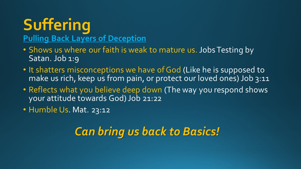 Suffering Pulling Back Layers of Deception Shows us where our faith is weak to mature us.