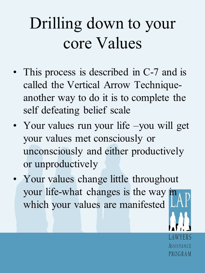 Drilling down to your core Values This process is described in C-7 and is called the Vertical Arrow Technique- another way to do it is to complete the self defeating belief scale Your values run your life –you will get your values met consciously or unconsciously and either productively or unproductively Your values change little throughout your life-what changes is the way in which your values are manifested