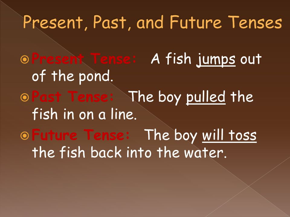  Present Tense: A fish jumps out of the pond.  Past Tense: The boy pulled the fish in on a line.  Future Tense: The boy will toss the fish back int