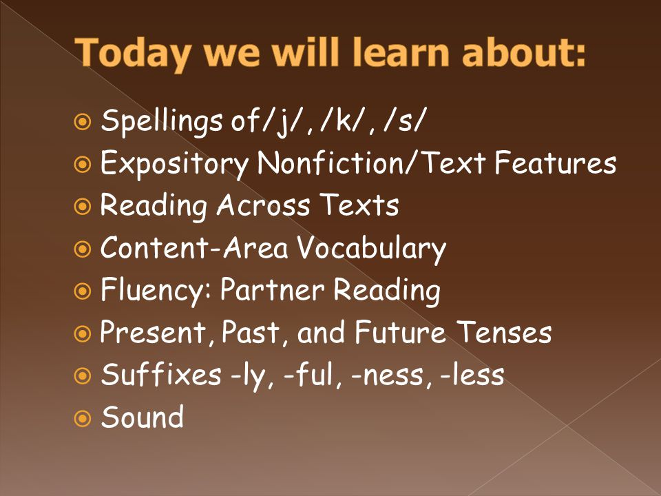  Spellings of/j/, /k/, /s/  Expository Nonfiction/Text Features  Reading Across Texts  Content-Area Vocabulary  Fluency: Partner Reading  Present, Past, and Future Tenses  Suffixes -ly, -ful, -ness, -less  Sound