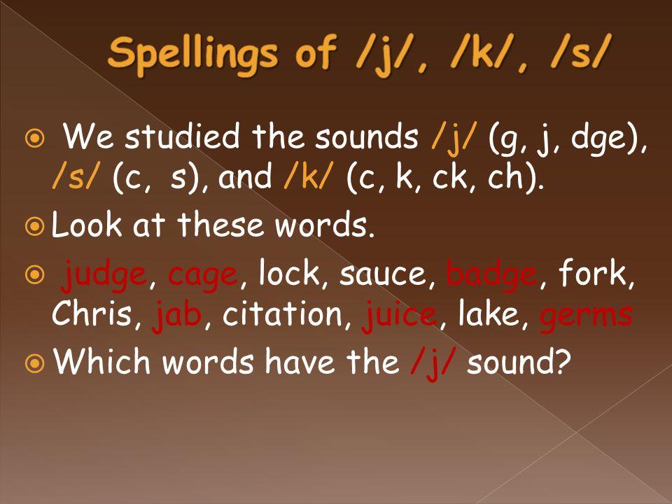  We studied the sounds /j/ (g, j, dge), /s/ (c, s), and /k/ (c, k, ck, ch).