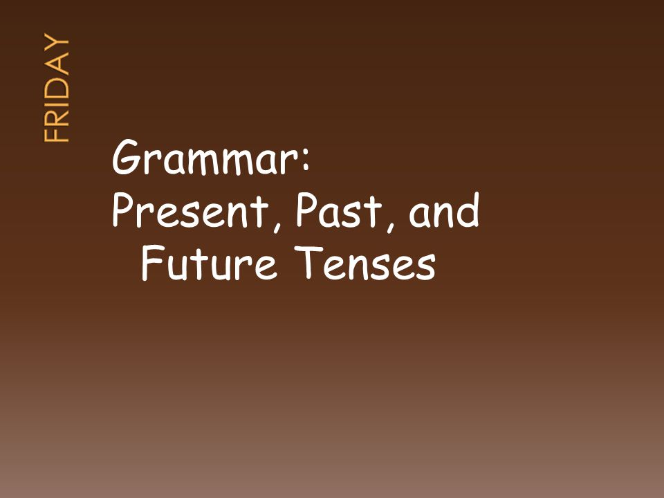 Grammar: Present, Past, and Future Tenses