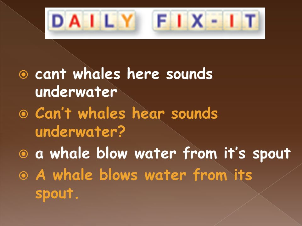  cant whales here sounds underwater  Can't whales hear sounds underwater.
