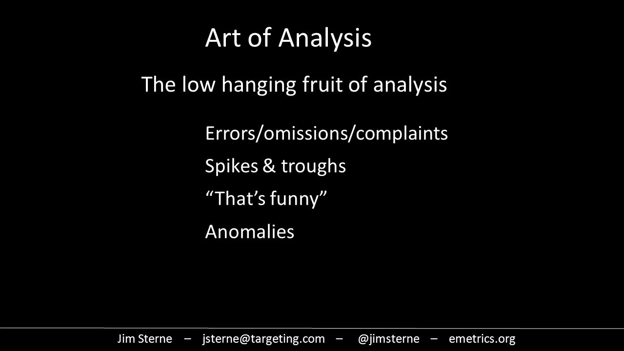 The low hanging fruit of analysis Errors/omissions/complaints Spikes & troughs That's funny Anomalies Jim Sterne – jsterne@targeting.com – @jimsterne – emetrics.org Art of Analysis