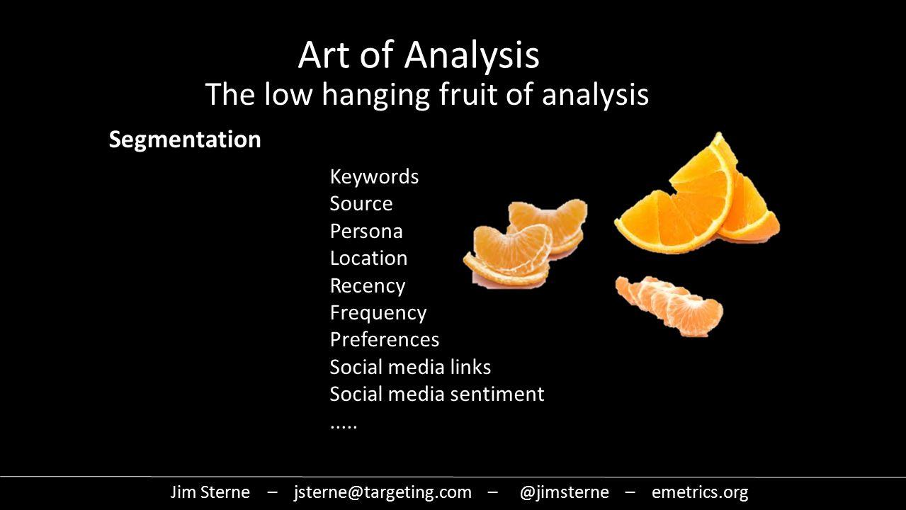Jim Sterne – jsterne@targeting.com – @jimsterne – emetrics.org Art of Analysis The low hanging fruit of analysis Keywords Source Persona Location Recency Frequency Preferences Social media links Social media sentiment.....