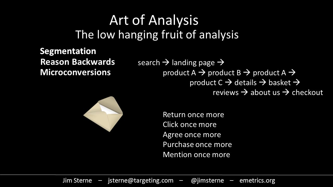 Jim Sterne – jsterne@targeting.com – @jimsterne – emetrics.org Art of Analysis The low hanging fruit of analysis Segmentation Reason Backwards search  landing page  product A  product B  product A  product C  details  basket  reviews  about us  checkout Return once more Click once more Agree once more Purchase once more Mention once more Microconversions