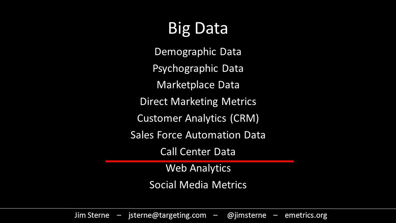 Demographic Data Psychographic Data Marketplace Data Direct Marketing Metrics Customer Analytics (CRM) Sales Force Automation Data Call Center Data Web Analytics Social Media Metrics Jim Sterne – jsterne@targeting.com – @jimsterne – emetrics.org Big Data