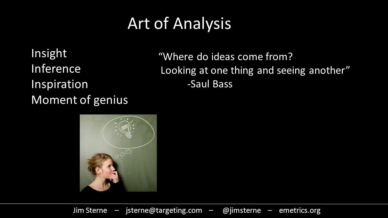 Jim Sterne – jsterne@targeting.com – @jimsterne – emetrics.org Art of Analysis Where do ideas come from.