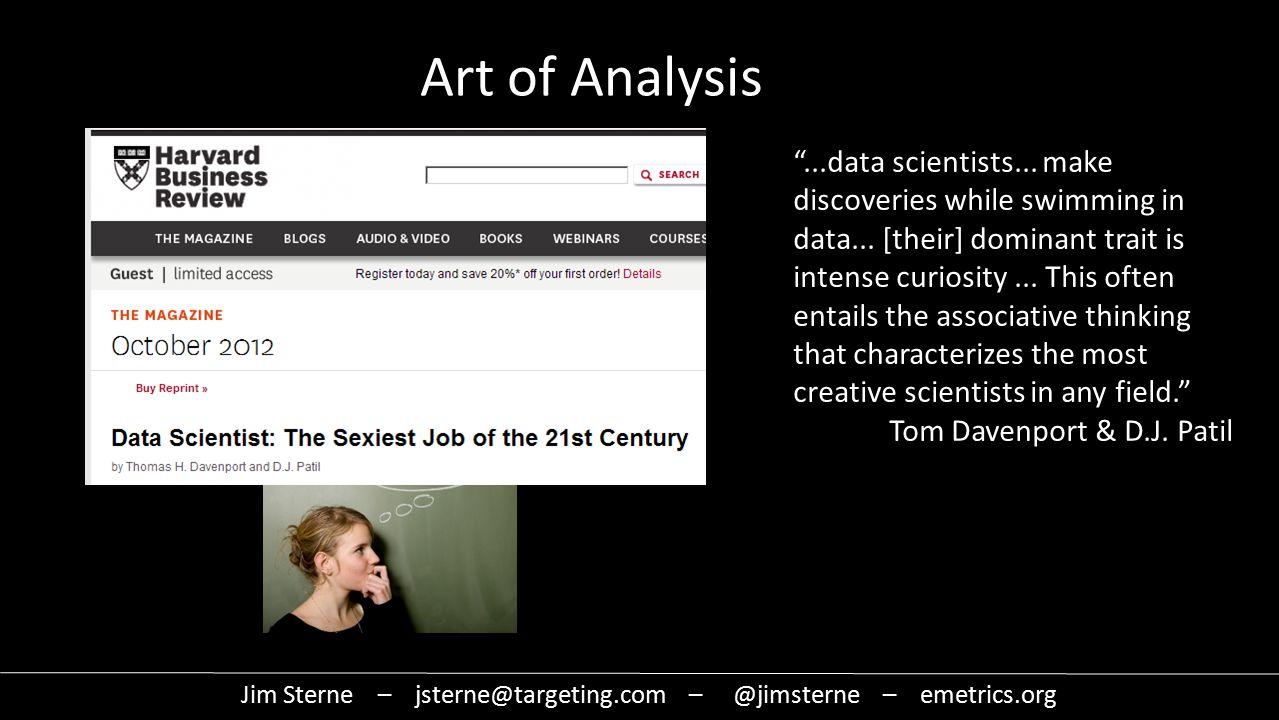 Jim Sterne – jsterne@targeting.com – @jimsterne – emetrics.org Art of Analysis Insight Inference Inspiration Moment of genius ...data scientists...