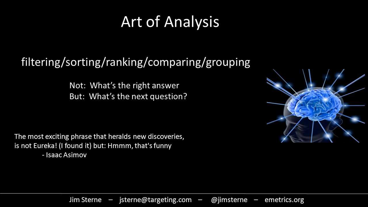filtering/sorting/ranking/comparing/grouping Art of Analysis The most exciting phrase that heralds new discoveries, is not Eureka.