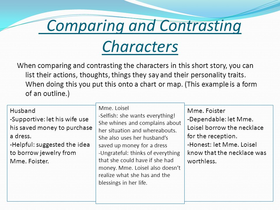 Comparing and Contrasting Characters When comparing and contrasting the characters in this short story, you can list their actions, thoughts, things t