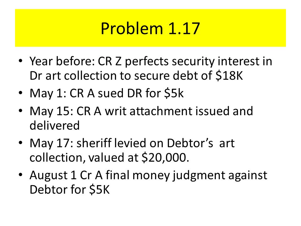 Problem 1.17 Year before: CR Z perfects security interest in Dr art collection to secure debt of $18K May 1: CR A sued DR for $5k May 15: CR A writ attachment issued and delivered May 17: sheriff levied on Debtor's art collection, valued at $20,000.