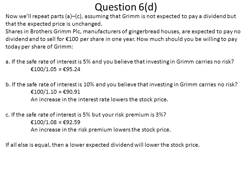 Question 6(d) Now we'll repeat parts (a)–(c), assuming that Grimm is not expected to pay a dividend but that the expected price is unchanged.