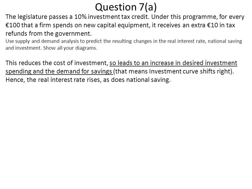 Question 7(a) The legislature passes a 10% investment tax credit.