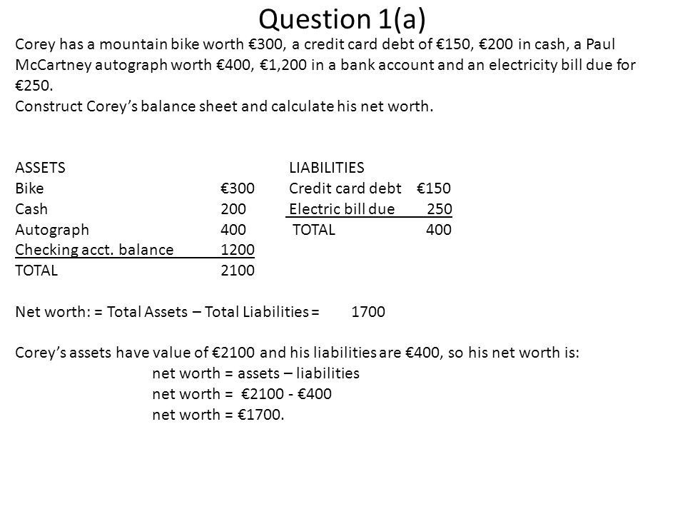 Question 1(a) Corey has a mountain bike worth €300, a credit card debt of €150, €200 in cash, a Paul McCartney autograph worth €400, €1,200 in a bank account and an electricity bill due for €250.