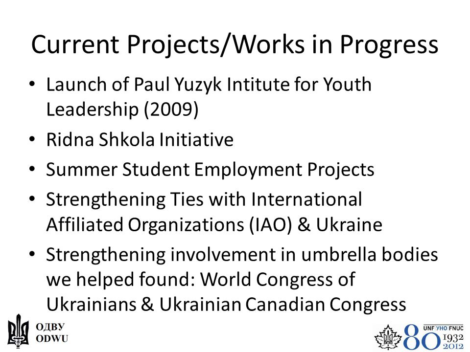 Current Projects/Works in Progress Launch of Paul Yuzyk Intitute for Youth Leadership (2009) Ridna Shkola Initiative Summer Student Employment Project