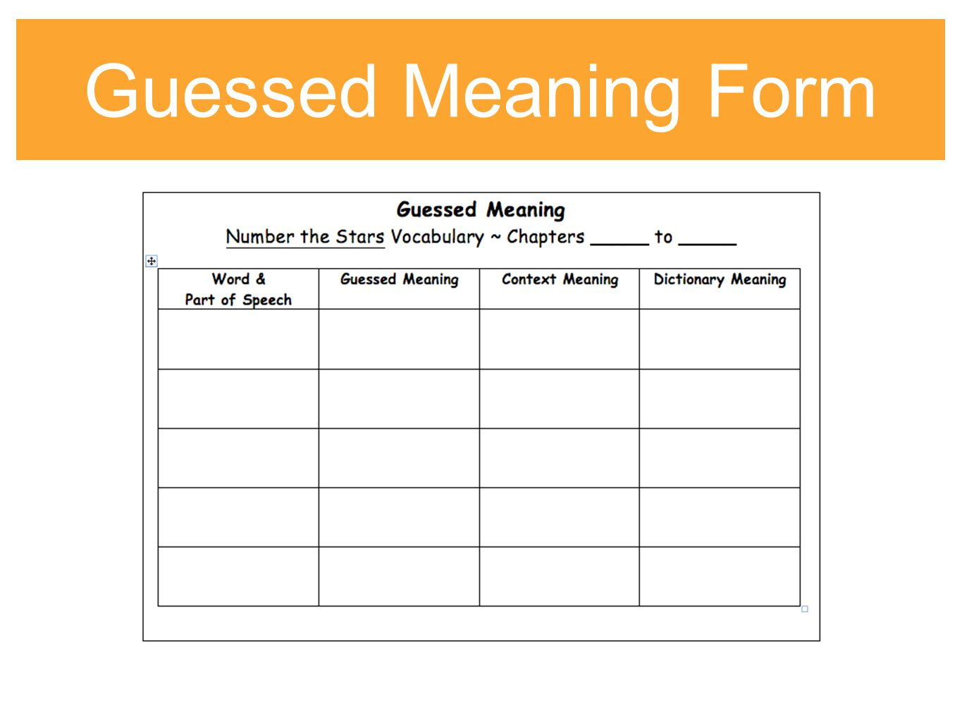 Guessed Meaning Number the Stars Vocabulary Chapters 7-9