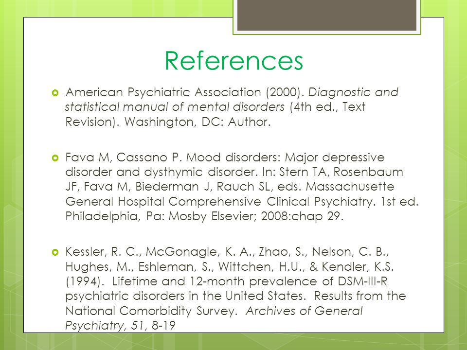 References  American Psychiatric Association (2000).