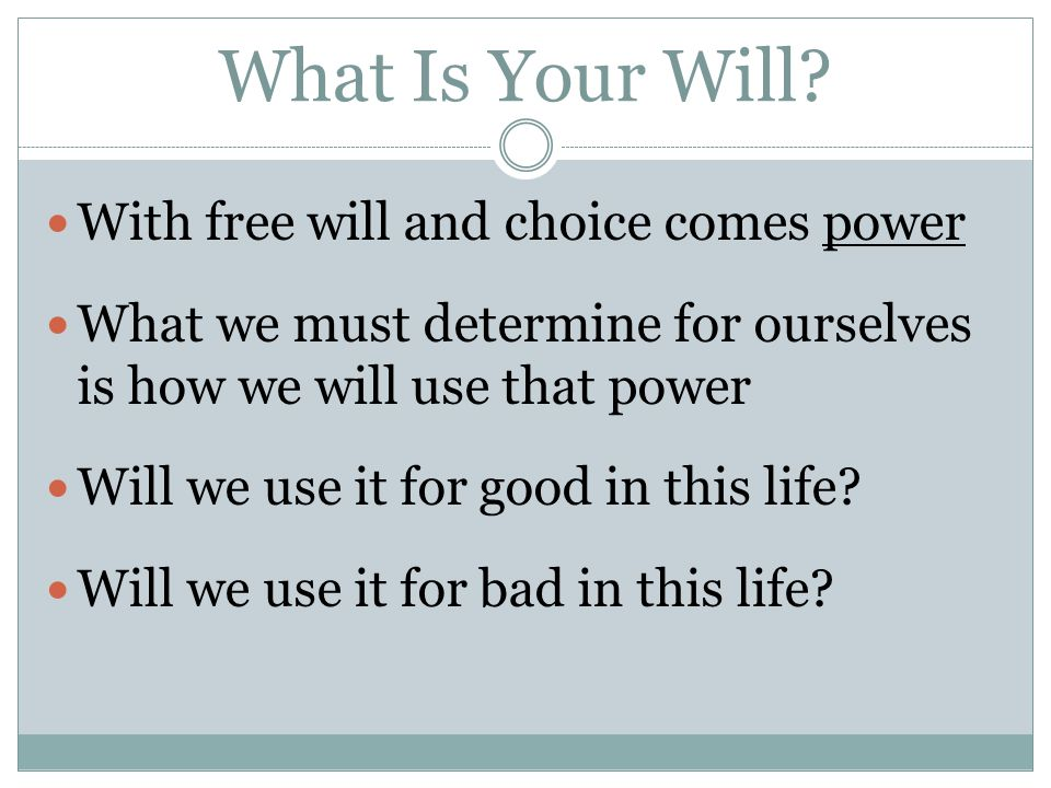 What Is Your Will.