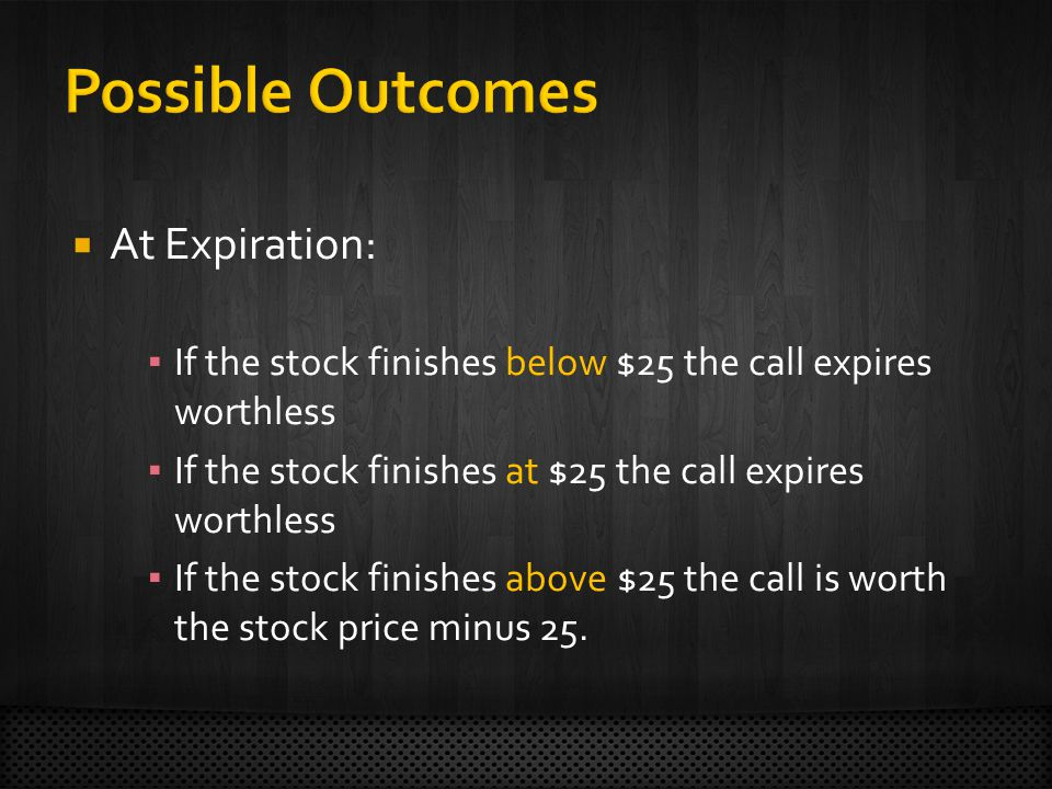  At Expiration: ▪ If the stock finishes below $25 the call expires worthless ▪ If the stock finishes at $25 the call expires worthless ▪ If the stock finishes above $25 the call is worth the stock price minus 25.
