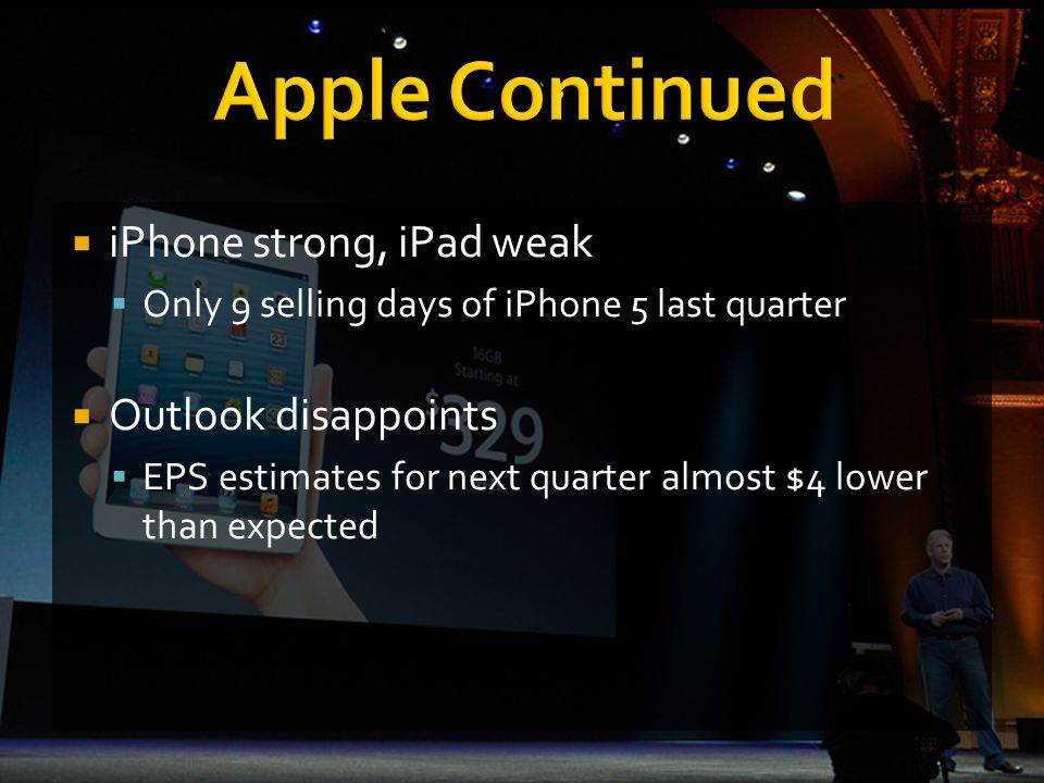  iPhone strong, iPad weak  Only 9 selling days of iPhone 5 last quarter  Outlook disappoints  EPS estimates for next quarter almost $4 lower than expected