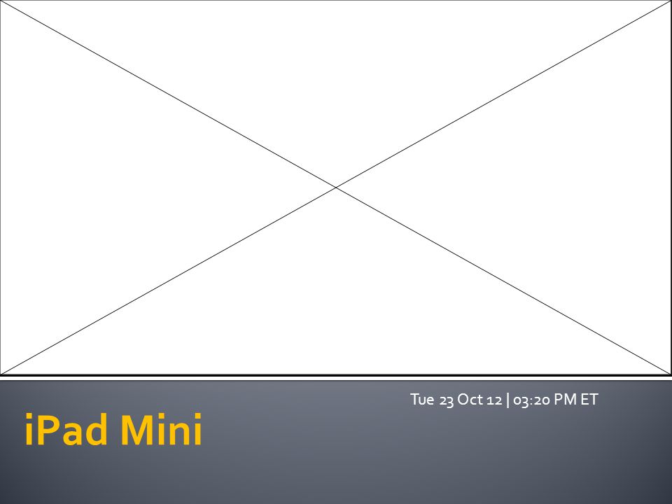iPad Mini Tue 23 Oct 12 | 03:20 PM ET
