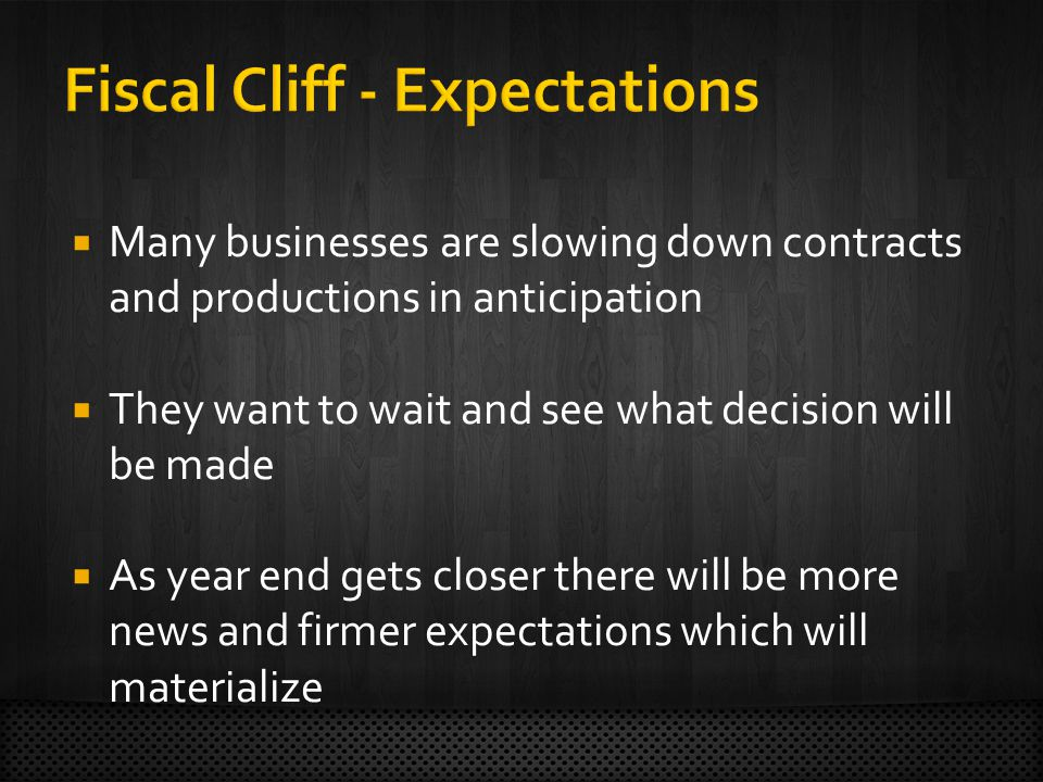  Many businesses are slowing down contracts and productions in anticipation  They want to wait and see what decision will be made  As year end gets closer there will be more news and firmer expectations which will materialize