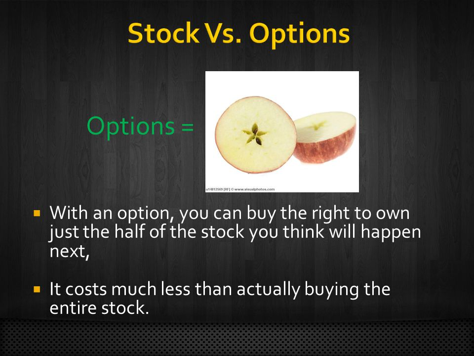 Options =  With an option, you can buy the right to own just the half of the stock you think will happen next,  It costs much less than actually buying the entire stock.