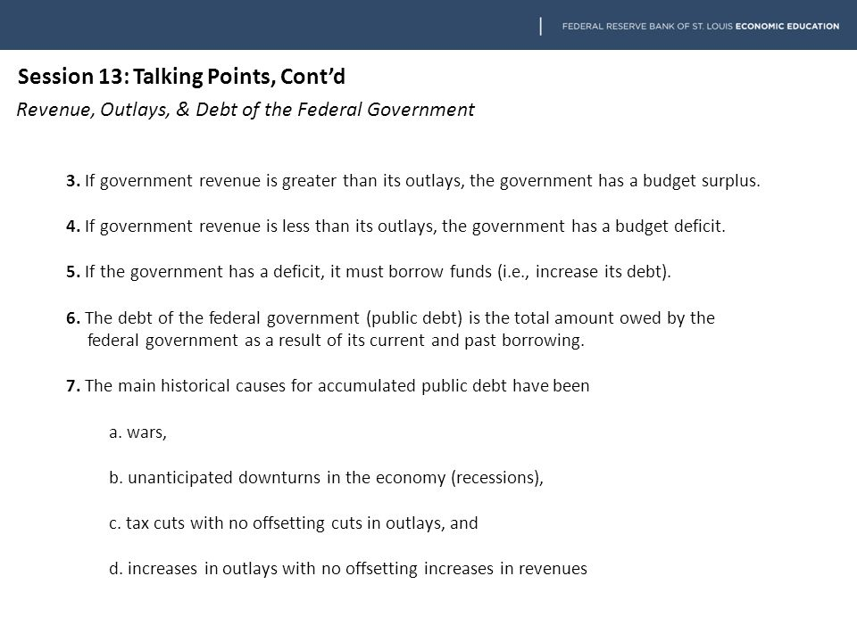 Session 13: Talking Points, Cont'd Revenue, Outlays, & Debt of the Federal Government 8.