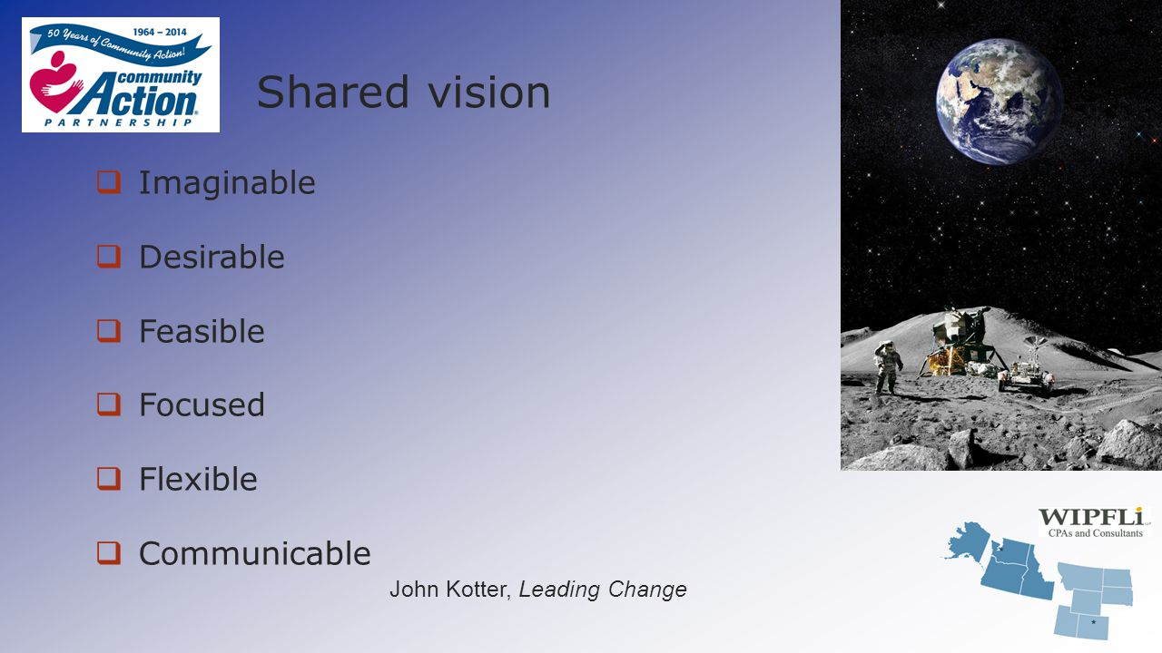 Shared vision  Imaginable  Desirable  Feasible  Focused  Flexible  Communicable John Kotter, Leading Change