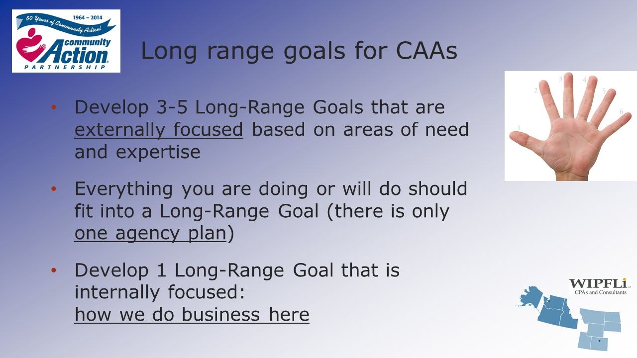 Long range goals for CAAs Develop 3-5 Long-Range Goals that are externally focused based on areas of need and expertise Everything you are doing or wi