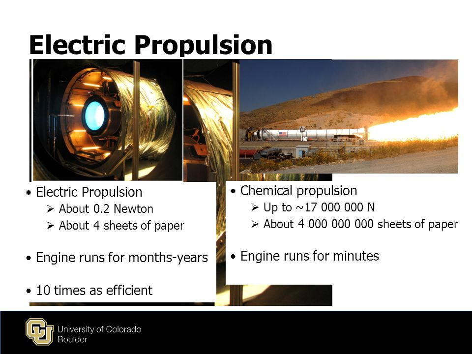 Electric Propulsion  About 0.2 Newton  About 4 sheets of paper Engine runs for months-years 10 times as efficient Chemical propulsion  Up to ~17 000 000 N  About 4 000 000 000 sheets of paper Engine runs for minutes